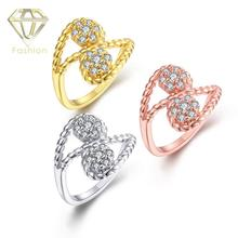New Design Gold/Rose-gold/White-gold Color with Simple Double Czech Rings for Women Girls Party Bridal Jewelry Best Gift(China)
