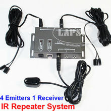 BD104 4 Emitter 1 Receiver 1 adapter IR Infrared Remote T-V AV Video Home Extender Hidden IR Repeater System Kit Connector(China)