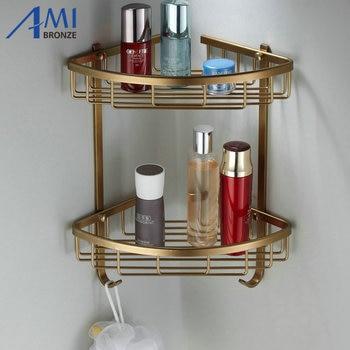 Fashion Space Aluminum Bathroom Shelf Antique Brass Double Layer Corner Shelf Basket