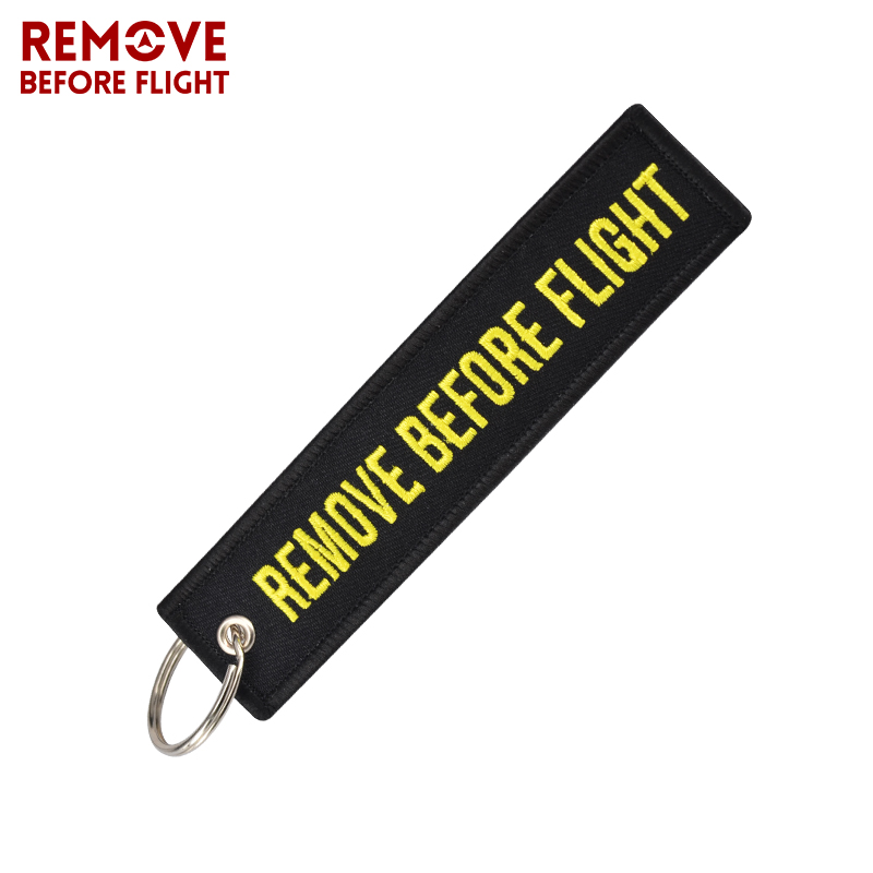 Remove Before Flight Motorcycle Keychain Embroidery Key Ring for Aviation Fashion Safety Tag Key Fob Car Keychains Motorcycle (5)