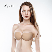Night Elf sexy invisible bra strapless self adhesive fly bra soft high quality 3/4 cup bh silicone push up bra for women 2017(China)