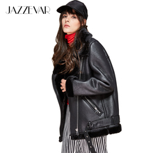 JAZZEVAR new autumn winter high fashion street women's PU leather jacket casual warm zipper jacket imitation fur outwear(China)