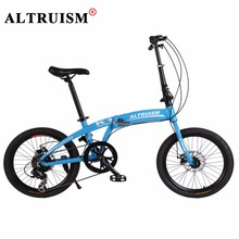 Altruism K1 Folding Bike For Kid's Bicycle 7 Speed 20 inch Aluminum bicicleta mountain bikes Double Disc Brake Road Bicycles(China)