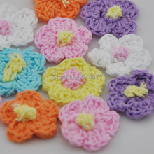 40pc Crochet sunflower Appliques Craft Sewing Trim DIY craft wholesale B138(China)