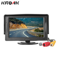 4.3 Inch TFT LCD Mini Car Rear View Digital Monitor Parking Rearview Monitor Screen For DVD VCD Reverse Camera(China)