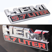 Mayitr 3D 5.7 LITER HEMI Logo Emblem Nameplate Car Badge Decal Sticker for Dodge Ram Jeep Silver Red Car Styling Accessories(China)