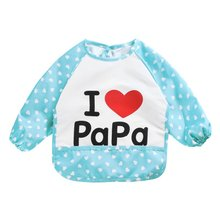 Cute Baby Boy Girls Burp Cloths Infant Family Long Sleeve Anti Wear Waterproof Feeding Bib Apron