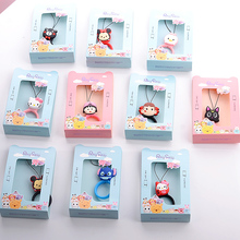 New Design 1 Piece Finger Ring Mobile Phone Straps Cute Cartoon Mobile Phone Lanyard(China)