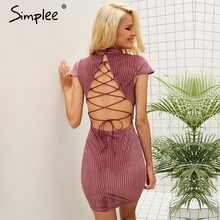Simplee Corduroy backless lace up vintage dress women Sexy mandarin collar bodycon dress Antumn elegant party dresses robe femme(China)