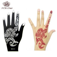 1pcs Henna Hand Tattoo Stencil,Flower Glitter Airbrush Mehndi Henna Tattoo Large Templates Stencils For Body Paint 20*10.5cm(China)