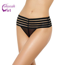 PW5099 Ohyeahgirl Hot sale black plus size panties erotic design mesh sexy string fashion hollow out mid waist sexy lingerie hot(China)
