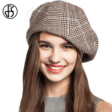 FS Winter French Artist Beret Hat For Female College Fashion Black Blue Brown Plaid Wool Thicken Berets Painter Octagonal Caps(China)