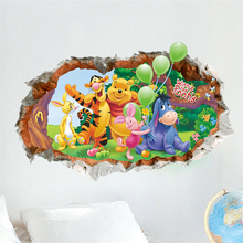 Cartoon Winnie the Pooh Bear Animal 3d Wall Sticker For Kids Rooms Children Art Mural Poster Wallpaper Nursery Hoom Decor Gift