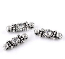 Doreen Box Lovely Connectors Antique Silver Clear Rhinestone 21x8mm,30PCs (B22426)(China)
