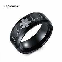 Hot Selling Star of Life Lover Rings Ecg Graph Women Ring 8MM Steel Qulaity Plated Life Star  Men Ring SIZE 5~14 SF-270