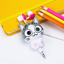 Cute Kawaii Cat Bear Panda Cartoon Retractable Earphone for Samsung Xiaomi Huawei OPPO for IPhone 5 5s 6 6s 7 plus MP3 MP4 Gift(China)