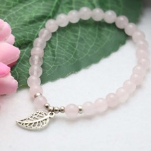 6mm Natural stone Pink CryStal beads Opal Chalcedony Bracelet hand chain for women girls Pendant Lucky Leaf Jewelry Design(China)