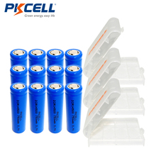 12Pcs*PKCELL AA Size 14500 3.7V Lithium Battery 750mAh ICR14500 Rechargeable Li-ion Batteries+3pcs Battery Box For AA AAA Cell