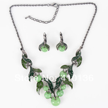 MS17211 Green Apple Necklace Set High Quality Jewelry Sets Gunmetal Plated Sweet Fruit New Arrival Party Gift Free Shipping