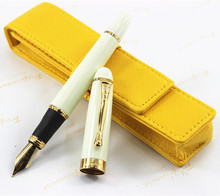 Free shipping is JinHao pen Big Ivory White Lacquer 0.7mm Broad Nib Gold Trim / Yellow pen bag # + the best gift(China)