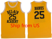 Basketball Jersey Cool Classic T-shirts Yellow 25# Movie Basketball Jersey Will Smith The Fresh Prince Jersey Shirts Hip Hop