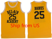 Basketball Jersey Cool Classic T-shirts Yellow 25# Movie Basketball Jersey Will Smith The Fresh Prince Jersey Shirts Hip Hop(China)