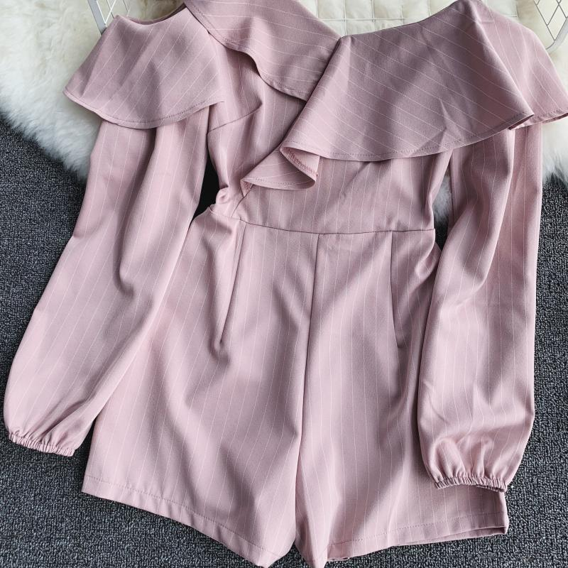 Spring Summer Jumpsuit for Woman Women's 2019 New Heart Machine Lotus Edge V-neck Long Sleeve High-waist Stripe Short Overalls 13
