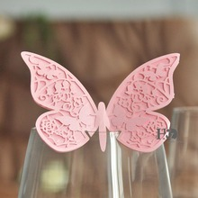 2.5*7 inch Pink  3D Double-Butterfly 120 pcs Name Place Paper Cards for Glass Cup Table Card Party Wedding Favors Decorations