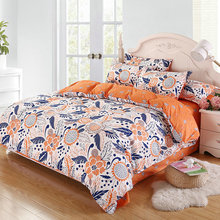 Fashion Home Life Orange Printing Flower Pattern Comfortable Home Textiles Supplies Quilt Cover + Bed Sheet+Pillowcase