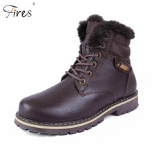 winter high top Leather hiking shoes Mens outdoor waterproof Cotton shoes mountain zapatillas trekking shoes warm men snow boots