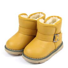 Winter Baby Shoes Boys Girls Snow Boots Fur Plush Lined PU Rubber Waterproof Children Warm Shoes Kids Martin Boot Size 21-30