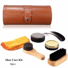 6Pcs/Set Cleaning Shoes Care Kit, Leatherette Barrel Case, Travel Care Tool Leather Neutral Polishing Tool For Leather(China)