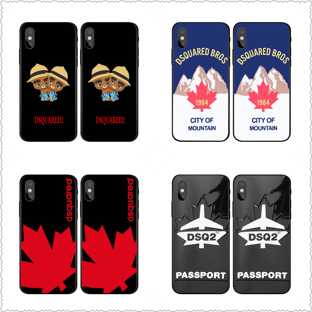 New Arrival Milan Maple Dsquared Italian fashion brand phone Case For iphoneX 7 8 Black silicone case For Samsung s8 s9 Case