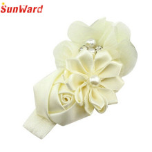 SunWard Newly Design Little Girls Pearl Flower Rhinestone Elastic Headbands Hair Accessories 160613 Drop Shipping Sunward