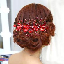 Wedding Hair Accessories Red Flowers Hair Clips Bride Rhinestone Tiara Bridal Crown Floral Hairdress Hair Bands Jewelry