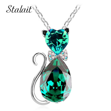 2016 NEW gift brand design girl women accesorries jewelry Austrian crystal Cat catty 18KGP Pendant Chain Necklace 84575