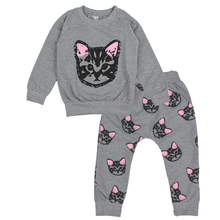 Hello Kitty Girls Clothing Sets Little Cats Kids Children Clothes Long Sleeve Cotton Set Toddler Girls Autumn Clothes