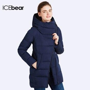 Iecbear 2016 جديد شتاء المرأة سترة مقنعين سترة الموضة التجارية عالية الجودة سميكة أبلى معطف دافئ 16G607