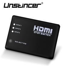 UNSTINCER 3 Port 1080P Video HDMI Switch Switcher 3X1 HDMI Switch Splitter3 in 1 out with IR Remote For HDTV PS3 DVD Supports 3D(China)