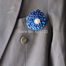 2pcs Rhinestone Artificial Rose Men tuxedo Suit Boutonnier Wedding Decor Supplier Corsage Brooch Flower Lapel Pin Stick Blue(China)