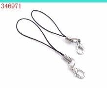 DIY Bracelet Necklace metal jewelry accessories M  100 PCs Per Lot Black Cell Phone Lanyard Cords Strap  t Mobile Lobster Clasp