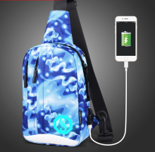 personal Luminous male chestbag with USB port men's sling backpack (S15-99)(China)