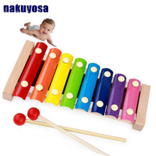 8 Scales Melody Piano and Whistle, Baby's Early Childhood Education Wooden Toy Musical Instrument 23.5*12.5cm