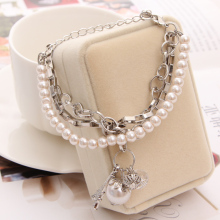2017 New  Multi Layer Bracelet Silver Chain Beads simulated  Pearl Tower Pendant bracelets & bangles punk jewelry wholesale