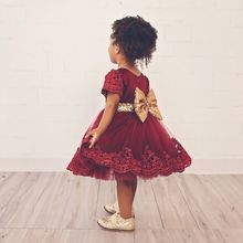 2018 New Baby girl clothes Princess Dress Clothes Short Sleeve Lace Bow Ball Gown Tutu Party Dress Toddler Kids Fancy Dress 0-7Y(China)