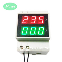 Din rail Dual Voltage and current meter Din-rail voltmeter ammeter range AC 80-300V 0.1-99.9A built-in transformer