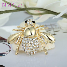European And American Big Cute Bee Brooch CZ Brooch Pin Collar Cardigan Dress Female Jewelry Brooches For Wedding Bouquets(China)