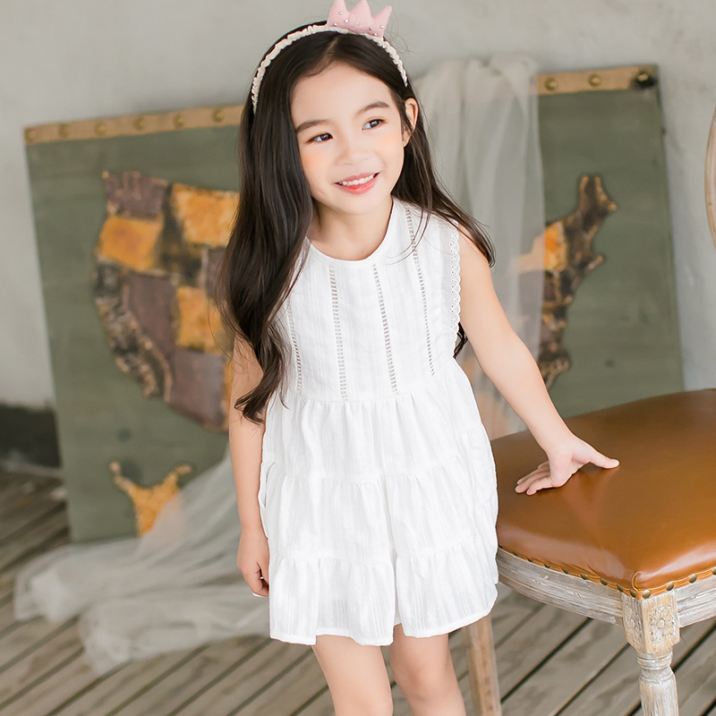 POKA White 100% Cotton Girls Dress Kids Brand Sleeveless Dresses for Girls 2017 Summer Girls Clothing Princess Dress Fits 4~12Y<br>