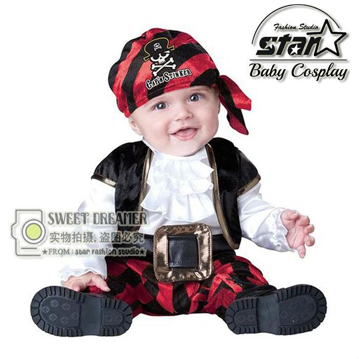 7-24M Newborn Baby Cute Fashion Halloween Pirate Cosplay Clothes Set Boys Girls Unisex Birthday Party Performance Jumpsuit<br>