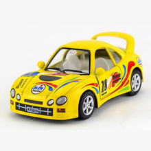 KINSMART Diecast Toy Vehicles Simulation Printed Cartoon Racing Cars Models, Pull Back Doors Openable Kids Toys Car(China)